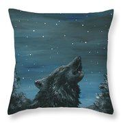 Wolf And The Stars Throw Pillow