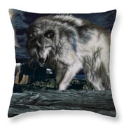 Wolf At Night Throw Pillow