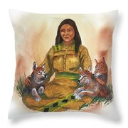 Wolf Clan Mother Throw Pillow