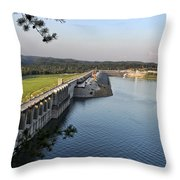 Wolf Creek Dam Throw Pillow by Amber Flowers