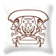 Wolf Cross Bones Banner Retro Throw Pillow