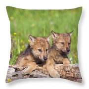 Wolf Cubs On Log Throw Pillow