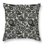 Wolf Gray Paisley Design Throw Pillow