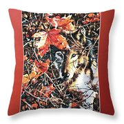Wolf Hiding In Branches Throw Pillow