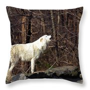 Wolf Howling In Forest Throw Pillow