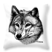 Wolf In Pencil Throw Pillow