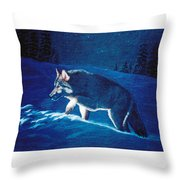 Wolf In The Headlights Throw Pillow