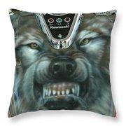 Wolf Motorcycle Gas Tank Throw Pillow