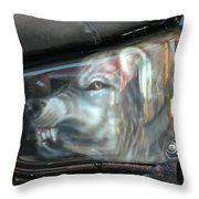 Wolf Motorcycle Side Panel Throw Pillow