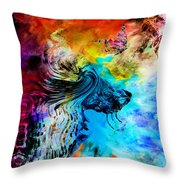 Wolf Playing With Butterflies Throw Pillow