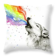 Wolf Rainbow Watercolor Throw Pillow