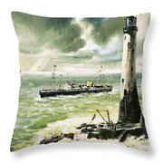 Wolf Rock Lighthouse At Land's End Throw Pillow