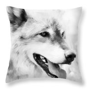 Wolf Smiling Black And White Throw Pillow