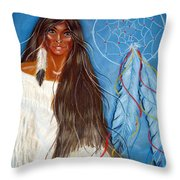 Wolf Woman Throw Pillow