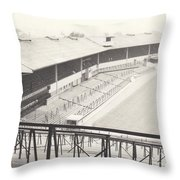 Wolverhampton - Molineux - Waterloo Road Stand 1 - Bw - Leitch - September 1968 Throw Pillow