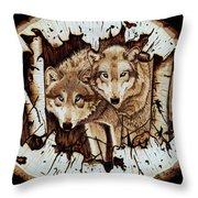 Wolves In Hiding Throw Pillow