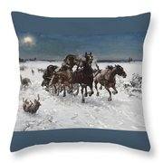 Wolves In Pursuit By Alfred Wierusz-kowalski 1849-1915 Throw Pillow