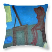 Woman After Bathing Throw Pillow