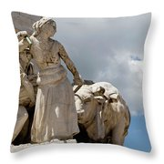 Woman And Bull, Marquis De Pombal Monument Throw Pillow