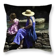 Woman And Child At Pond Throw Pillow