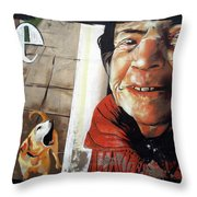 Woman And Dog Throw Pillow