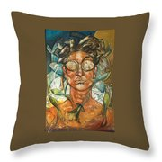 Woman And Fishes Throw Pillow
