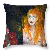 Woman And Flowers  Throw Pillow