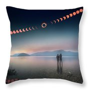 Woman And Girl Standing In Lake Watching Solar Eclipse Throw Pillow