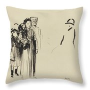 Woman And Two Children With German Soldiers Throw Pillow