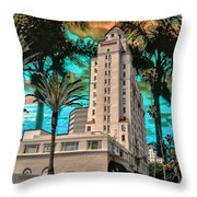 Woman At The Breakers Throw Pillow