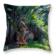 Woman At The Fountain Throw Pillow