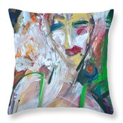Woman At The Jazz Club Throw Pillow