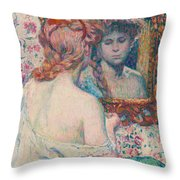 Woman At The Mirror  Throw Pillow