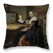 Woman At The Virginal Throw Pillow