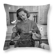 Woman Baking In Kitchen, C.1960s Throw Pillow