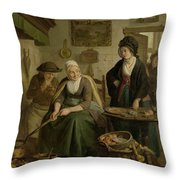 Woman Baking Pancakes Throw Pillow