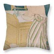 Woman Bathing Throw Pillow