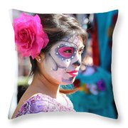 Woman Beautiful Day Of The Dead  Throw Pillow