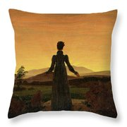 Woman Before The Rising Sun Woman Before The Setting Sun1818-20  By Caspar David Friedrich 1774 Throw Pillow