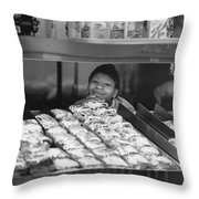 Woman Behind Fast Food Counter Throw Pillow