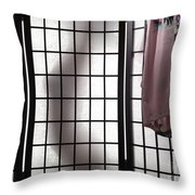 Woman Behind Shoji Screen Throw Pillow