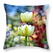 Photographer Behind The Flowers Throw Pillow