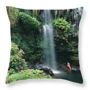 Woman Beneath Waterfall Throw Pillow