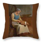 Woman Carding Wool Throw Pillow