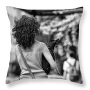 Woman Carry Dog Nyc Blk Wht  Throw Pillow