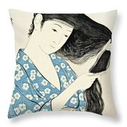 Woman Combing Her Hair Kami Sukeru Onna Throw Pillow