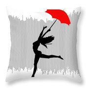 Woman Dancing In The Rain With Red Umbrella Throw Pillow