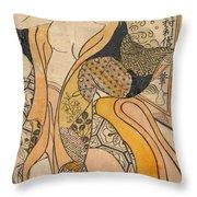 Woman Disrobing Throw Pillow