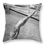 Woman Doing A Back Dive Throw Pillow