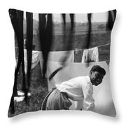 Woman Doing Laundry, C1902 Throw Pillow